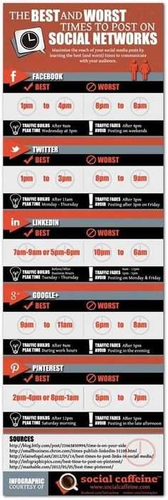 The Best and Worst Times to Post on Social Networks. great to know for branding and marketing on social media Inbound Marketing, Social Marketing, Marketing Digital, Marketing Trends, Marketing Services, Marketing Online, Mobile Marketing, Content Marketing, Internet Marketing