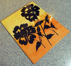 8x10 Original Acrylic Painting On Paper Two Roses Black Silhouette Sunset Orange Yellow Signed Christina Appling by LCApplingPhotoArt on Etsy