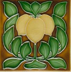 Art Tile, Art Nouveau Design, Lemons and Leaves on Brown