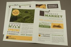 Earthy Farmers Market Newsletter Template - The strong type and earthy colors of this farmers market newsletter make is a perfect way to spread the word about local markets and events. The various type treatments throughout bring a vigor while the grid layout creatively structures the content.