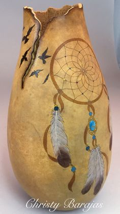 Dreamcatcher Gourd Vase with Stone Inlay by Christy Barajas