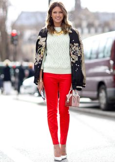 A quick Styling Tip for your special day that will easily take you from day to night. Pair red pants with a white knitted topand a statement necklace for a polished and chic look. …