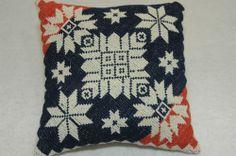 Authentic Antique Indigo Red Coverlet Pillow Patriotic Cupboard 9 x 9 Pillow