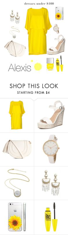 """Dresses under $100:Yellow Edition"" by alexiz-couture ❤ liked on Polyvore featuring Imperial, Dorothy Perkins, BaubleBar, Maybelline, Nails Inc. and dressunder100"