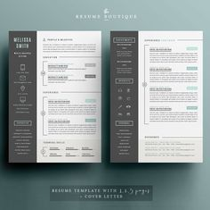 Resume Template 4 pages  CV Template  Cover por TheResumeBoutique