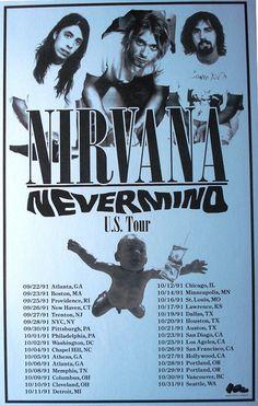 Nirvana US Tour 1991 Concert Sheet by MVS by Innerwallz on Etsy, $15.00