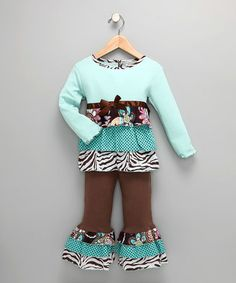 Chocolate & Teal Zebra Tunic & Pants - Infant, Toddler & Girls #zulily #zulilyfinds