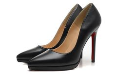 Christian Louboutin Pigalle Plato 120mm Kid Leather Pointed Toe Platform Pumps Black