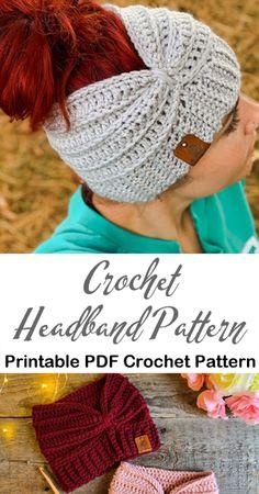 Headband Crochet Patterns – Great Ear Warmers - A More Crafty Life Crochet Ear Warmer Pattern, Knit Headband Pattern, Knitted Headband, Crochet Patterns, Free Crochet Headband Patterns, Crochet Flower Headbands, Crochet Flowers, Baby Headbands, Quick Crochet