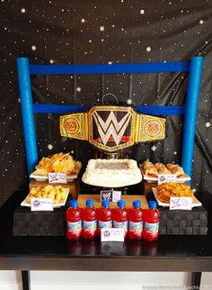 WWE Birthday Party Ideas for Kids - Moms & Munchkins - - These WWE birthday party ideas are perfect for the little wrestling fans in your home. Fun ideas for games, loot bags, food and more! 7th Birthday Party For Boys, Superman Birthday Party, Birthday Party Desserts, Birthday Ideas, Wrestling Birthday Parties, Wrestling Party, Wwe Party, Party Ideas, Fun Ideas