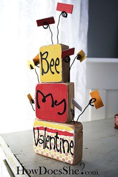 DIY valentine love notes display made from 2 x 4s