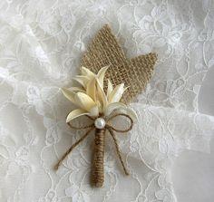 Burlap Grooms Brooch Boutonniere - Rustic Wedding - Corsage Pin - Floral Lapel - Ivory Boutineers - Groomsmen - Men Wedding by FloroMondo on Etsy https://www.etsy.com/listing/187949227/burlap-grooms-brooch-boutonniere-rustic