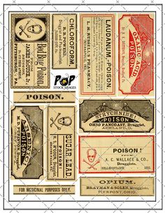 Vintage Apothecary Labels - Poison - Halloween Digital Collage Sheet - Altered Art. $2.00, via Etsy.