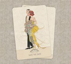 Save the Date Wedding Invitations Vintage Deco Theme Set of 100. $90.00, via Etsy.