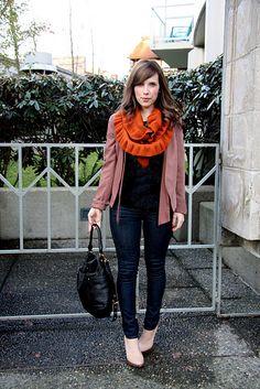 enormous orange scarf