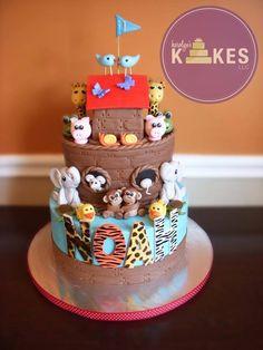 Noah's Ark kake for Noah's first birthday :) Bottom cake iced in buttercream. Ark is cake covered in Chocolate Marshmallow Fondant (MMF). Noahs Ark Cake, Noahs Ark Party, Diy Birthday Messages, Birthday Quotes, Fondant Cakes, Cupcake Cakes, Birthday Presents For Teens, Animal Cakes, Cake Cover