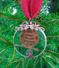 Personalized Christmas Ornament.Joy Love Peace by RaiseMyGlass