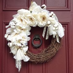 Romantic Shabby Chic White Peony Wreath. Vintage Lace and Scraps of Eyelet fabric, Faux flowers with lace petals and cotton pods. Grapevine.