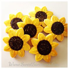 One Dozen Sunflower Custom Designer Cookies by SweetSanctionsLLC