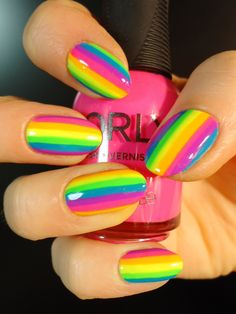 'Neon Rainbow' Nail-Art by Amy of 'A Different Shade of Polish's' blog on tumblr(2013)<3<3<3