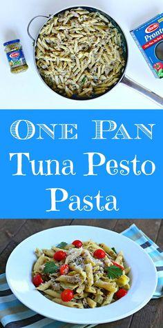 one pan tuna pesto pasta @Walmart @BarillaUS #ad #OnePanPronto