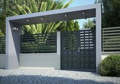 Front Yard Fence Company and Modern Fence Ideas Backyard. Home Gate Design, Front Gate Design, Main Gate Design, Door Design, Front Gates, Front Yard Fence, Entrance Gates, House Entrance, Farm Fence