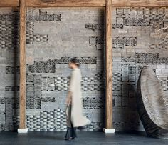 Gallery of Recycling Tiles: 15 Examples of Repurposed Tiles in Walls, Facades, Flooring, and Furniture - 9 H Design, Wall Design, Mountain Pictures, Wall Patterns, Wall Treatments, Moma, Interior Architecture, Contemporary Architecture, Asian Architecture