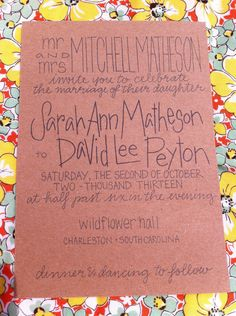 Calligraphy Wedding kraft paper Invitations custom