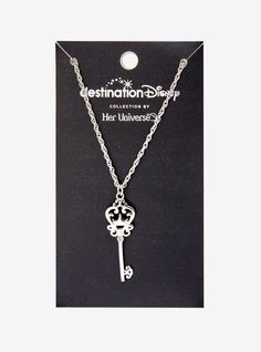 The key to your heart, or the key to your Disney castle? This Destination Disney necklace from Her Universe features a silver tone key pendant with a dainty clear CZ longAlloyImported Disney Inspired Jewelry, Disney Jewelry, Disney Necklace, Key Necklace, Space Jewelry, Jewelry Accessories, Jewelry Box, Fashion Accessories, Skull Fashion