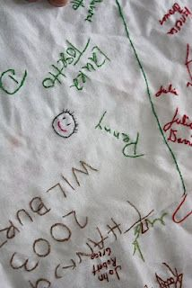 So Meaningful- (Family) Tablecloth... signed each year by family members; she embroiders over the signatures each year to make a lasting keepsake. Must try!