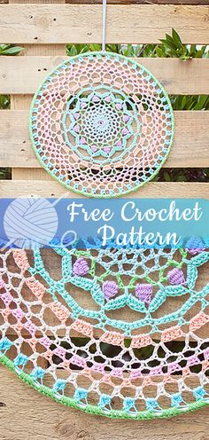 Crocheted Mandala – Circular figures in all sizes and colours: the mandala is a magical shape without a beginning or end. We love circular projects and designed and crocheted this colourful mandala. Crochet Mandala Pattern, Afghan Crochet Patterns, Crochet Doilies, Crochet Flowers, Crochet Stitches, Lace Patterns, Crochet Home, Free Crochet, Irish Crochet