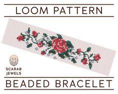 Vintage Rose Stitch Pattern Loom Beading Bracelet Cuff