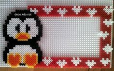 Penguin photo frame hama perler beads by deco.kdo.nat