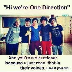 """""""Hola somos one direction"""" Y tu eres una directioner porque leiste esto con sus voces, pinealo si tu tambien lo hiciste jejeje"""