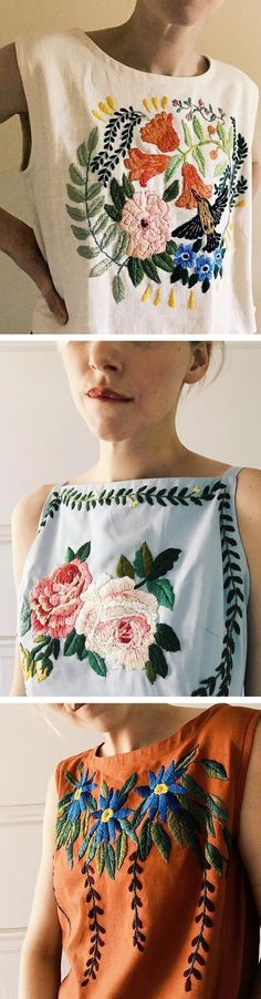 Tessa Perlow embroiders garments with bold flowers, turning ordinary tank tops and t-shirts into something spectacular. The up-cycled fashions are in keeping with the long tradition of cultures who adorn their clothing with decorative stitches.