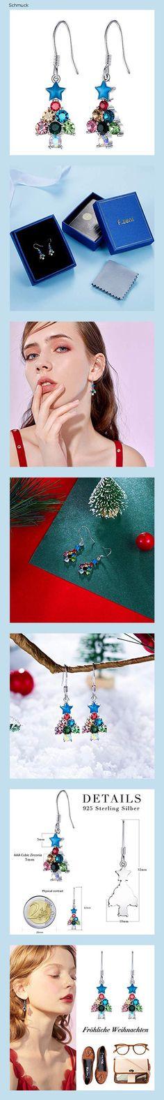 Weihnachtsbaum Haken Ohrringe,925 Sterling Silber Bunt Zirkonia Tannenbaum Hänger Ohrhänger mit Geschenkbox für Damen Mädchen - 14he