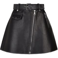 Maje A-Line Leather Skirt (27.235 RUB) ❤ liked on Polyvore featuring skirts, bottoms, jupe, knee length leather skirt, leather biker skirt, knee length a line skirt, a-line skirts and shiny skirt