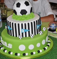 "The post ""Football cake models, football birthday cake, football player birthday cake, football collective birthday cake, football themed birthday."" appeared first on Pink Unicorn Cakes for boys Football Birthday Cake, Soccer Birthday Parties, Soccer Party, Soccer Theme, Sports Party, Fancy Cakes, Cute Cakes, Bolo Original, Cake Models"