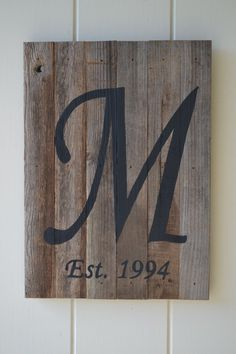 Rustic Wood Sign with Family Name and Date by SignsFromaSparrow, $29.99