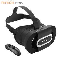 RITECH VR GO Portable Foldabe 3D Virtual Reality Glasses VR Headset 3D Video Glasses Helemt For 4.7-6.0 Smart Phone+Controller #Affiliate