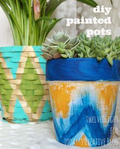 DIY Decorating| Painting terrecotta pots | Easy Craft Ideas | Painted Pots and Baskets by TwelveOeight for TodaysCreativeLife.com