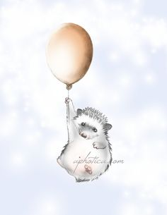 a little hedgehog with balloon original art print by aphotica