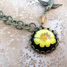nature inspired resin jewelry real flower necklace by MissMayoShop