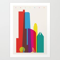 Shapes of Chicago in Scale Art Print by Yoni Alter | Society6