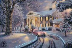 schneebedecktes Haus, Winter, Straße, Thomas Kinkade