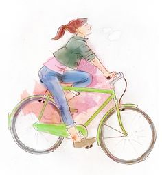 BIKE HAPPY - Pencil skectch painted digitally #bycicle #illustration