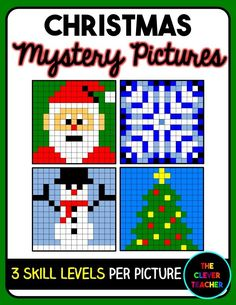 Christmas Math! Students solve the multiplication or division expression in each box. Then, they color according to the coloring key. This is a FUN way to build math fluency! Each of the 4 pictures comes with 3 skill levels. NOTE: This store also has addition and subtraction mystery pictures for every holiday. $