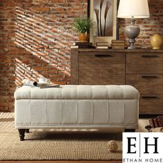 $174.99 -  ETHAN HOME St Ives Lift Top Cream Fabric Tufted Storage Bench