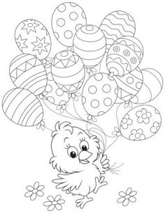 Free Easter colouring-in sheets for the kids Chick Holding Easter Balloons Free Easter Coloring Pages, Easter Coloring Sheets, Coloring Easter Eggs, Coloring Pages For Kids, Coloring Books, Colouring In Sheets, Adult Coloring, Easter Art, Easter Crafts For Kids