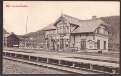 Nord-Trøndelag fylke Stjørdal kommune Hell Jernbanestation. Utg Narvesen brukt 1911
